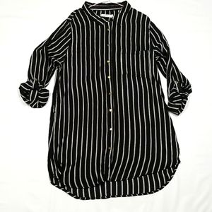 Cotone Black With White Stripes Long Button Up Top